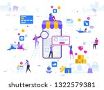 online shopping and delivery of ... | Shutterstock .eps vector #1322579381