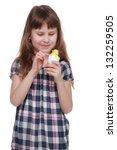 pretty cheerful girl holding... | Shutterstock . vector #132259505