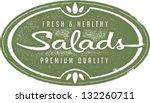 vintage fresh salads menu stamp | Shutterstock .eps vector #132260711