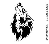 wolf head howl design tribal... | Shutterstock .eps vector #1322615231