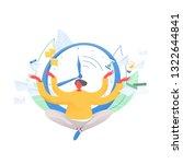 man sitting cross legged and... | Shutterstock .eps vector #1322644841