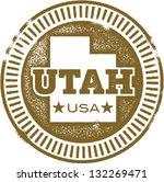 Vintage Utah USA State Stamp - stock vector