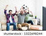 crazy hispanic fans screaming... | Shutterstock . vector #1322698244