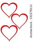Three Hearts On White Background