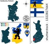 Vector map of Satakunta region and location on Finnish map