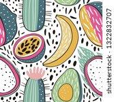 seamless hand drawn cactus...   Shutterstock .eps vector #1322832707