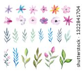 watercolor flowers and leaves | Shutterstock . vector #1322841704