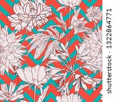 floral pattern on zig zag... | Shutterstock .eps vector #1322864771