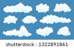 clouds set isolated on a blue... | Shutterstock .eps vector #1322891861