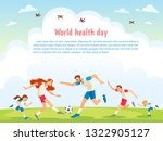 world health day. family sports.... | Shutterstock .eps vector #1322905127