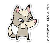 sticker of a shy cartoon wolf | Shutterstock .eps vector #1322907401