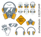 hand drawn safety signs. eye... | Shutterstock .eps vector #132291449