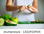 green fruits on front. woman... | Shutterstock . vector #1322923934
