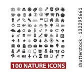 100 nature icons set  vector | Shutterstock .eps vector #132295661