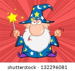 angry wizard with magic wand | Shutterstock .eps vector #132296081