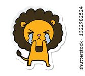 sticker of a cartoon crying lion | Shutterstock .eps vector #1322982524