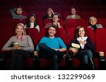 group of young people watching... | Shutterstock . vector #132299069
