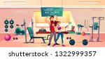 fitness club clients cartoon... | Shutterstock .eps vector #1322999357