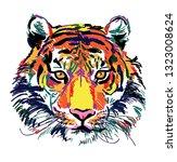 tiger head multicolored sketch.... | Shutterstock .eps vector #1323008624
