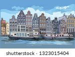 cityscape with houses on... | Shutterstock .eps vector #1323015404