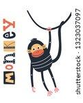 monkey   cute and fun kids hand ...   Shutterstock .eps vector #1323037097