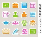 education sticker icons set.... | Shutterstock .eps vector #132303941