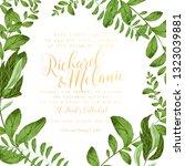 greenery wedding invitation... | Shutterstock .eps vector #1323039881