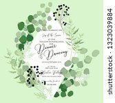 greenery wedding invitation... | Shutterstock .eps vector #1323039884