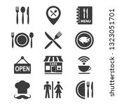 restaurant and cafe icons set...   Shutterstock .eps vector #1323051701