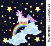 unicorn walking on a rainbow | Shutterstock .eps vector #1323065711