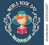 girl reading book for world... | Shutterstock .eps vector #1323121607