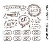 retro discount labels | Shutterstock .eps vector #132312989