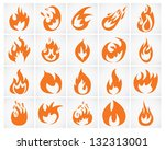 set of various fire elements.... | Shutterstock . vector #132313001