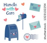 vector handle with care cute... | Shutterstock .eps vector #1323132254