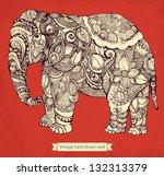 hand drawn elephant with...