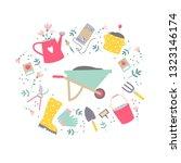garden tool set in vector.... | Shutterstock .eps vector #1323146174