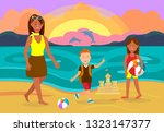 summer vacation with family... | Shutterstock .eps vector #1323147377