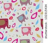 colorful cute elephants pattern   Shutterstock .eps vector #132315434