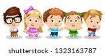 blond  brunette  redheaded boys ... | Shutterstock .eps vector #1323163787