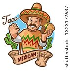mexican menu with taco and chef | Shutterstock .eps vector #1323172637