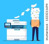 pile of paper  busy businessman ... | Shutterstock .eps vector #1323211694