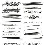 hand drawn underlines on white. ... | Shutterstock . vector #1323213044
