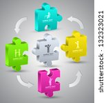jigsaw 3d  vector  business... | Shutterstock .eps vector #132323021