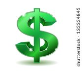 Green Dollar Sign Isolated On...