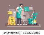 flat young woman at work in... | Shutterstock .eps vector #1323276887