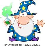 crazy wizard holding a green... | Shutterstock . vector #132328217