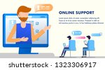 office worker in headset online ... | Shutterstock .eps vector #1323306917