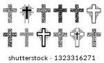 religion cross icon set... | Shutterstock . vector #1323316271