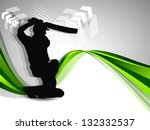 cricket batsman in playing... | Shutterstock .eps vector #132332537