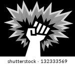 monochromatic revolt fist | Shutterstock .eps vector #132333569